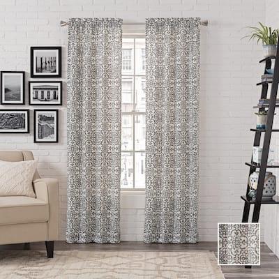 charcoal Medallion Rod Pocket Room Darkening Curtain - 56 in. W x 63 in. L  (Set of 2)