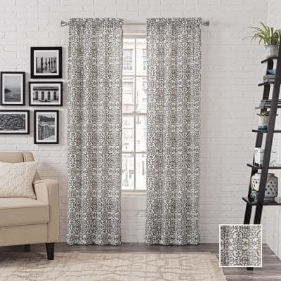 CHARCOAL Medallion Rod Pocket Room Darkening Curtain - 56 in. W x 84 in. L  (Set of 2)