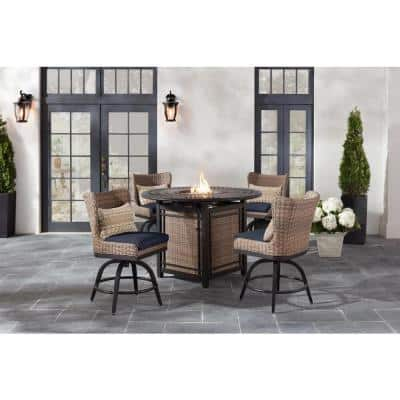 Hazelhurst 5-Piece Brown Wicker Outdoor High Dining Fire Pit Seating Set with CushionGuard Midnight Navy Blue Cushions