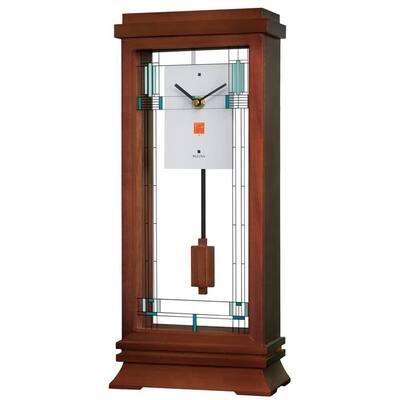 B1839 Willits Wooden Modern Mantel Clock with Pendulum, Walnut