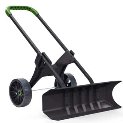 SnoDozer Rolling Snow Shovel on Wheels with 30 in. Heavy-Duty Push-Plow Blade and 10 in. Never Flat Tires