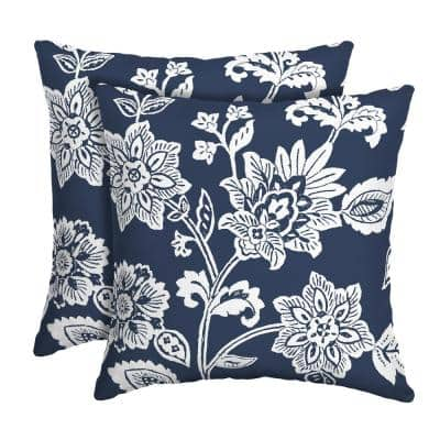 16 in. x 16 in. Sapphire Ashland Jacobean Outdoor Square Pillow (2-Pack)