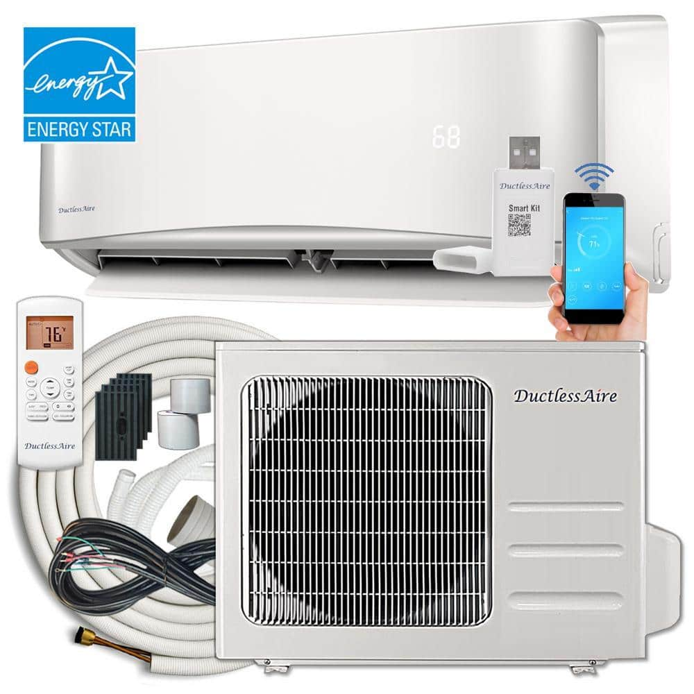 Ductlessaire 21 Seer 24 000 Btu Wi Fi Ductless Mini Split Air Conditioner And Heat Pump Variable Speed Inverter 220v 60hz Da2421 H2 The Home Depot