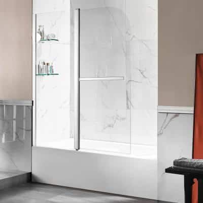 Anzzi 5 ft. Acrylic Left Drain Rectangle Tub in White with 48 in. W x 58 in. H Frameless Tub Door in Polished Chrome