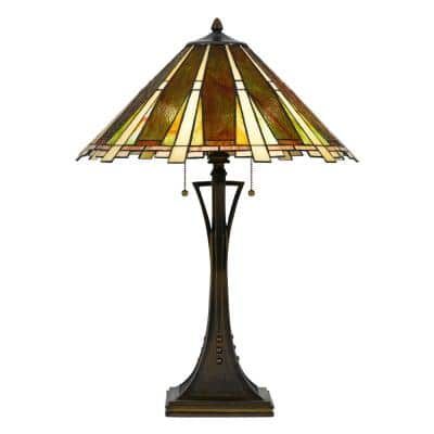 28 in. Bark Bronze Metal Table Lamp with Tiffany Glass Shade