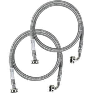 6 ft. Braided Stainless Steel Washing Machine Hoses with Elbow (2-Pack)