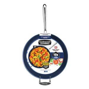 Classic Blue 14 in. Aluminum Ultra-Durable Mineral and Diamond Infused Family Skillet with Helper Handle