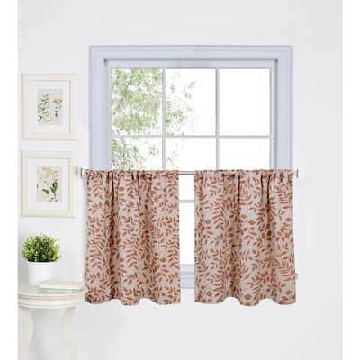 Spice Floral Rod Pocket Room Darkening Curtain - 30 in. W x 36 in. L (Set of 2)