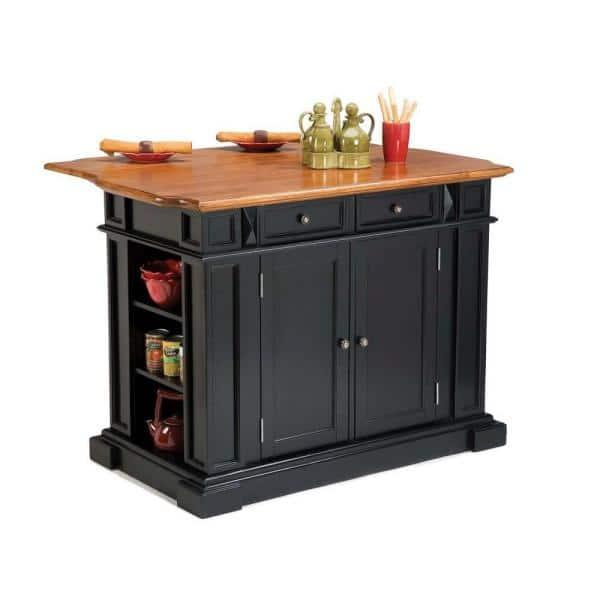 Homestyles Americana Black Kitchen Island With Drop Leaf 5003 94 The Home Depot
