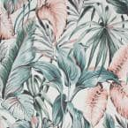 Leaves Exotique Green/Pink Vinyl Strippable Roll (Covers 56 sq. ft.)