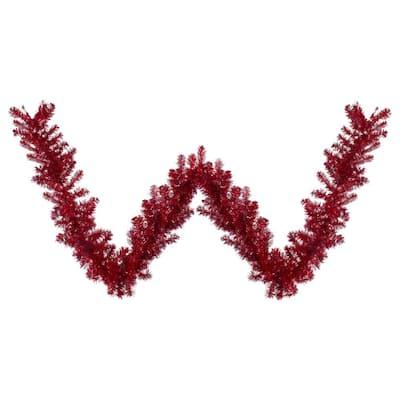 9 ft. x 12 in. Metallic Red Unlit Tinsel Artificial Christmas Garland