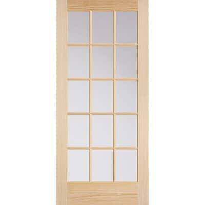36 in. x 80 in. French 15-Lite Solid-Core Smooth Unfinished Pine Veneer Composite Interior Door Slab