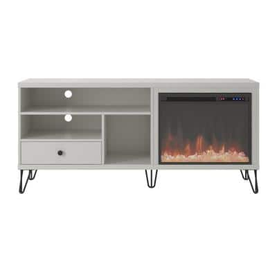 Montrose 59 in. Freestanding Electric Fireplace TV Stand Fits TV's up to 65 in. in White