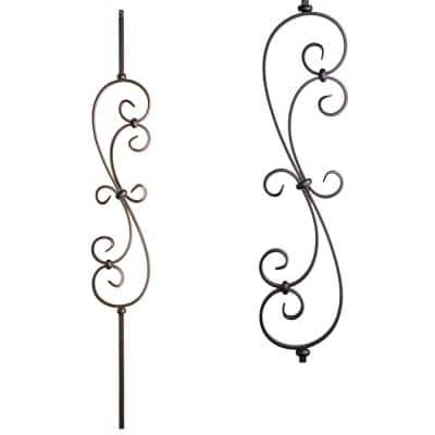 Scrolls 44 in. x 0.5625 in. Satin Black Round Spiral Scroll Solid Wrought Iron Baluster