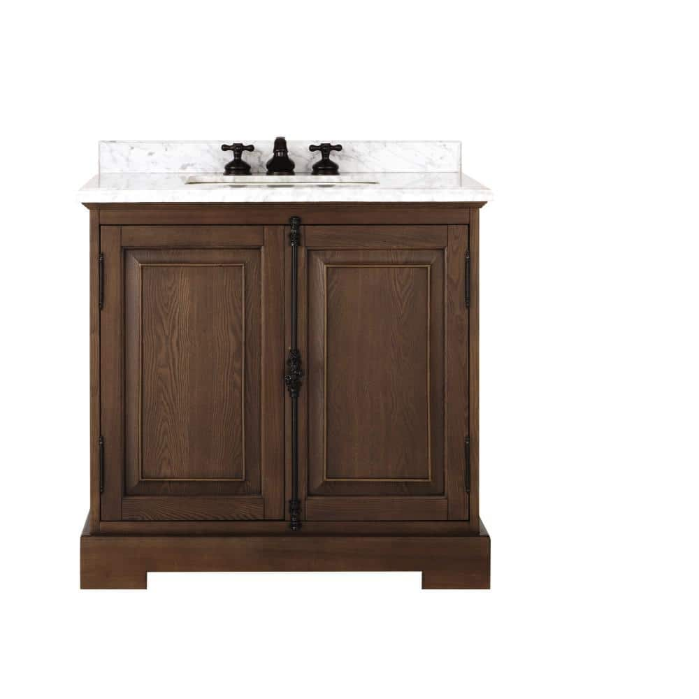 Home Decorators Collection Clinton 20 in. W Single Vanity in Antique Coffee  with Natural Marble Vanity Top in White with White Sink 20   The ...