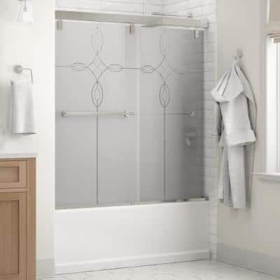 Everly 60 in. x 59-1/4 in. Mod Semi-Frameless Sliding Bathtub Door in Chrome and 1/4 in. (6mm) Tranquility Glass