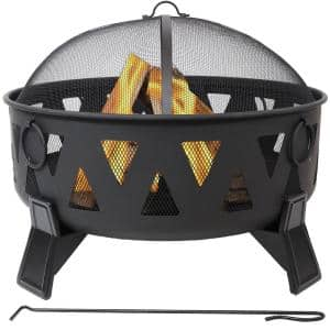 Steel Nordic-Inspired Fire Pit with Spark Screen and Poker - 34 in.