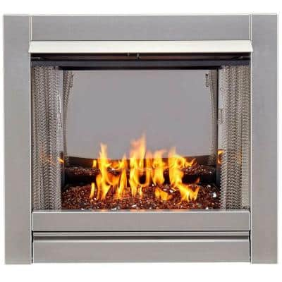 Duluth Forge Vent-Free Stainless Outdoor Gas Fireplace Insert With Copper Fire Glass Media - 24,000 BTU