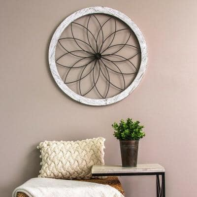 Flower Metal and Wood Art Deco Wall Decor