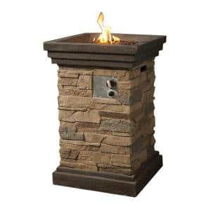 20 in. Outdoor Square Slate Rock Gas Fire Pit