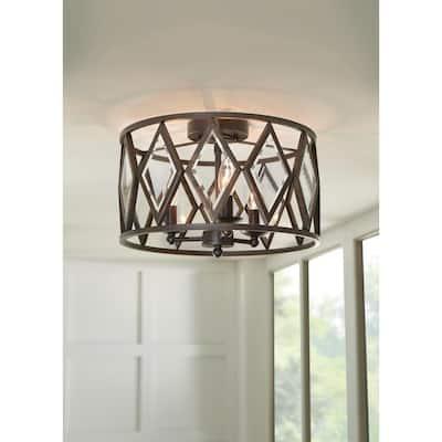 Tessali 16 in. 3-Light Bronze Prismatic Glass Flush Mount Ceiling Light