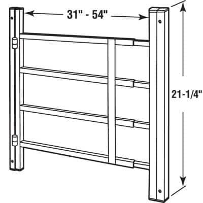 31 in. to 54 in. Wx 21 in. H Painted Carbon Steel Hinged 4-Bar Window Guard, White