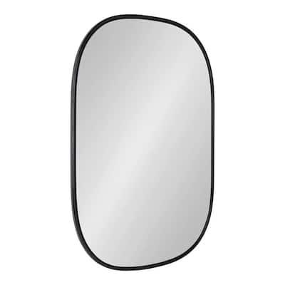 Medium Oval Black Modern Mirror (35.5 in. H x 23.75 in. W)