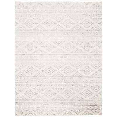 Tulum Ivory/Gray 9 ft. x 12 ft. Striped Tribal Geometric Area Rug
