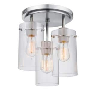 Cusco 13.6 in. 3-Light Brushed Steel Semi-Flush Mount Ceiling Light with Clear Glass Shades