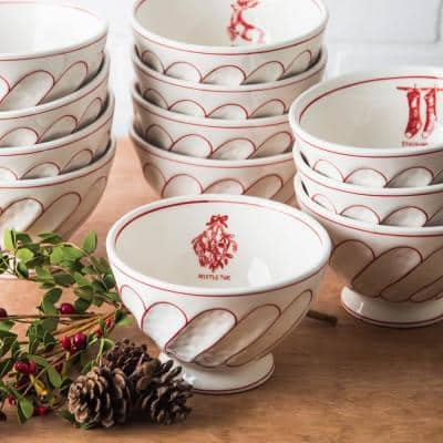 6 in. D Footed Mistletoe Cereal Bowl