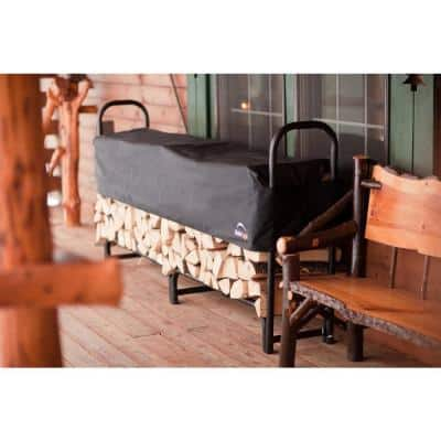 8 ft. D x 3 ft. H x 1 ft. W Firewood Rack with Black Powder-Coated Finish and 2-Way Adjustable Polyester Cover