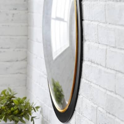 Medium Round Black & Gold Convex Classic Accent Mirror (28 in. Diameter)