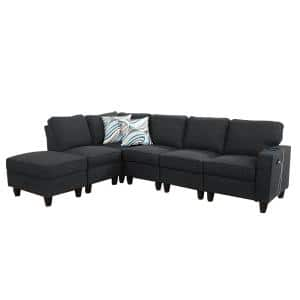 6-Piece Black Gray Microfiber 4-Seat L Shaped Right Facing Sectionals with USB-A