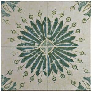 Klinker Retro Blanco Aster Encaustic 12-3/4 in. x 12-3/4 in. Ceramic Floor and Wall Quarry Tile