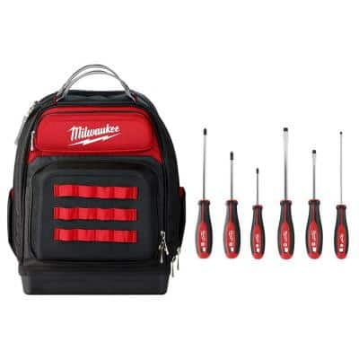 15 in. Ultimate Jobsite Backpack with Screwdriver Set (6-Pieces)
