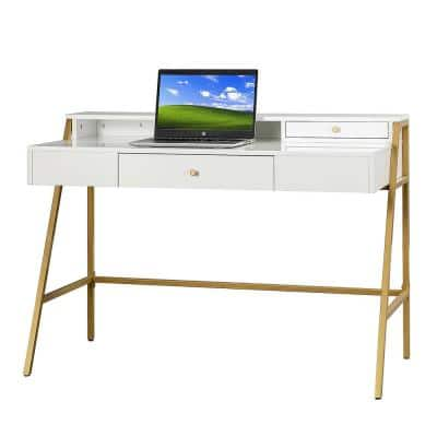 Xiroma White Writing Desk with Golden Base