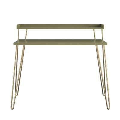 Shanewood 44.7 in. Rectangular Olive Green with Gold Legs Computer Desk with Riser
