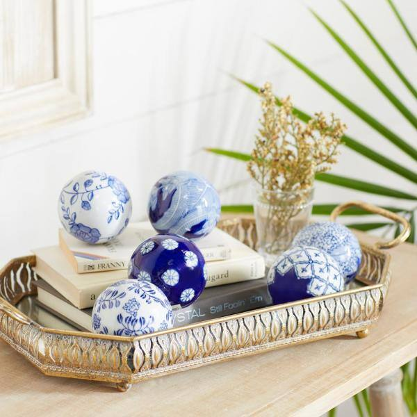 Litton Lane Blue Ceramic Glam Nature Orbs And Vase Filler Set Of 6 82520 The Home Depot