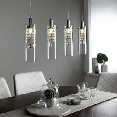 4-Light Chrome Base LED Pendant and Glass Shade Pendant