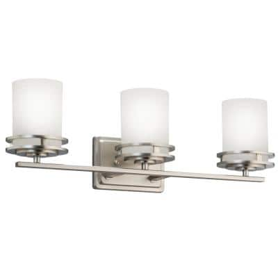 Hendrik 3-Light Brushed Nickel Vanity Light with Satin Etched Cased Opal Glass