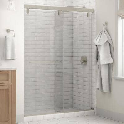 Portman 60 x 71-1/2 in. Frameless Mod Soft-Close Sliding Shower Door in Nickel with 1/4 in. (6mm) Clear Glass