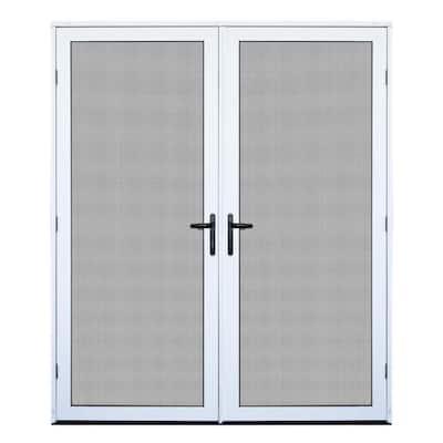 64 in. x 80 in. White Recessed Mount Ultimate Security Screen Door with Meshtec Screen