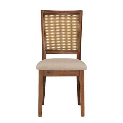 Oak Beige Linen Rattan Back Dining Chairs (Set of 2)