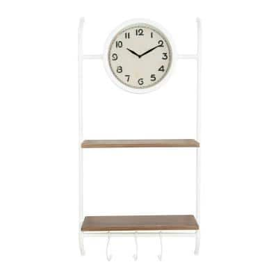 White Wall Clock with Shelves & Hooks
