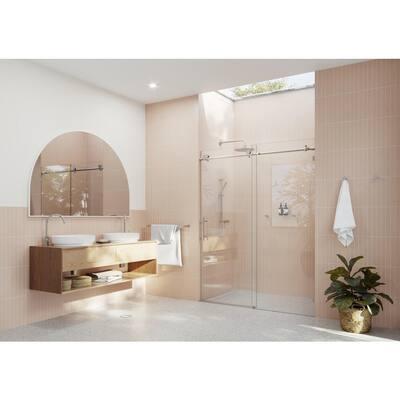 60 in. x 78 in. Frameless Sliding Shower Door in Brushed Nickel