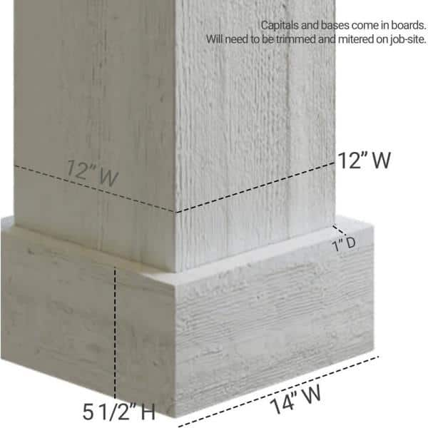 Ekena Millwork 12 In X 20 Ft Hand Hewn Endurathane Faux Wood Non Tapered Square Column Wrap W Standard Capital Base Coluhh12x240stuf The Home Depot