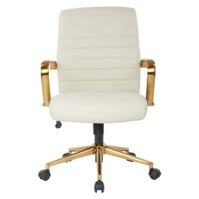 22.5 in. Width Standard Cream and Gold Faux Leather Task Chair with Adjustable Height