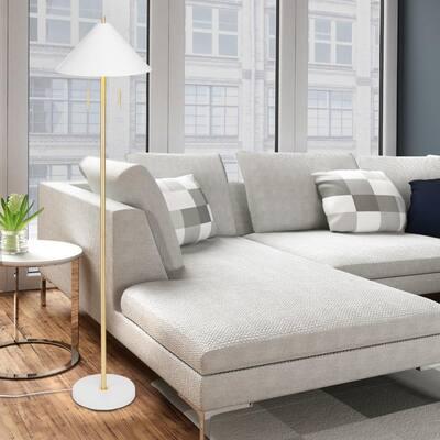 Eva 58.5 in. 2-Light Matte White Floor Lamp