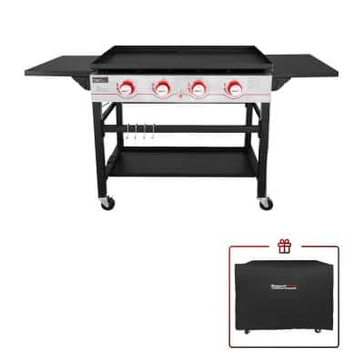 4-Burner Propane Gas Griddle in Black with Cover