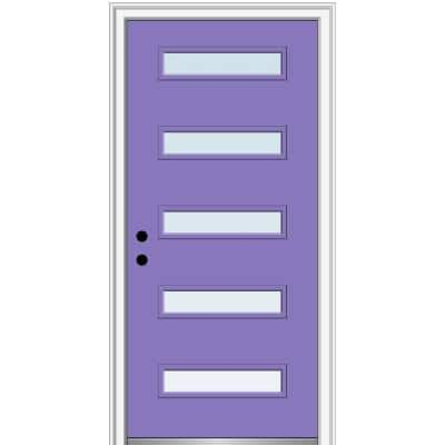 32 in. x 80 in. Davina Right-Hand Inswing 5 Lite Clear Low-E Glass Painted Steel Prehung Front Door on 4-9/16 in. Frame